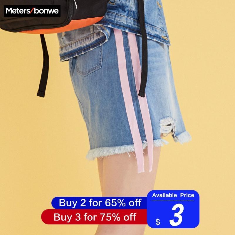 MetersBonwe, Джинсовая юбка с высокой талией, а-силуэт, мини юбки для женщин, потертая нестандартная юбка с лентой,, лето, Новое поступление