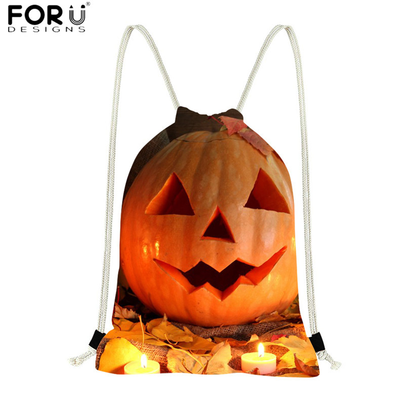 FORUDESIGNS Halloween Drawstring Bags Pumpkin 3D Print Durable Polyester Shopping Bags For Kids Travel Grocery Bags String Sack