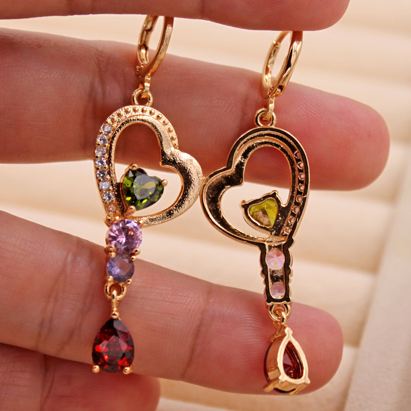 H4ec6a0de495a4827a4f52b3317de11b8D - Trendy Vintage Drop Earrings For Women Gold Filled  Red Green Pink Lavender Zircon Earrings Gold  Earring Wedding  Jewelry