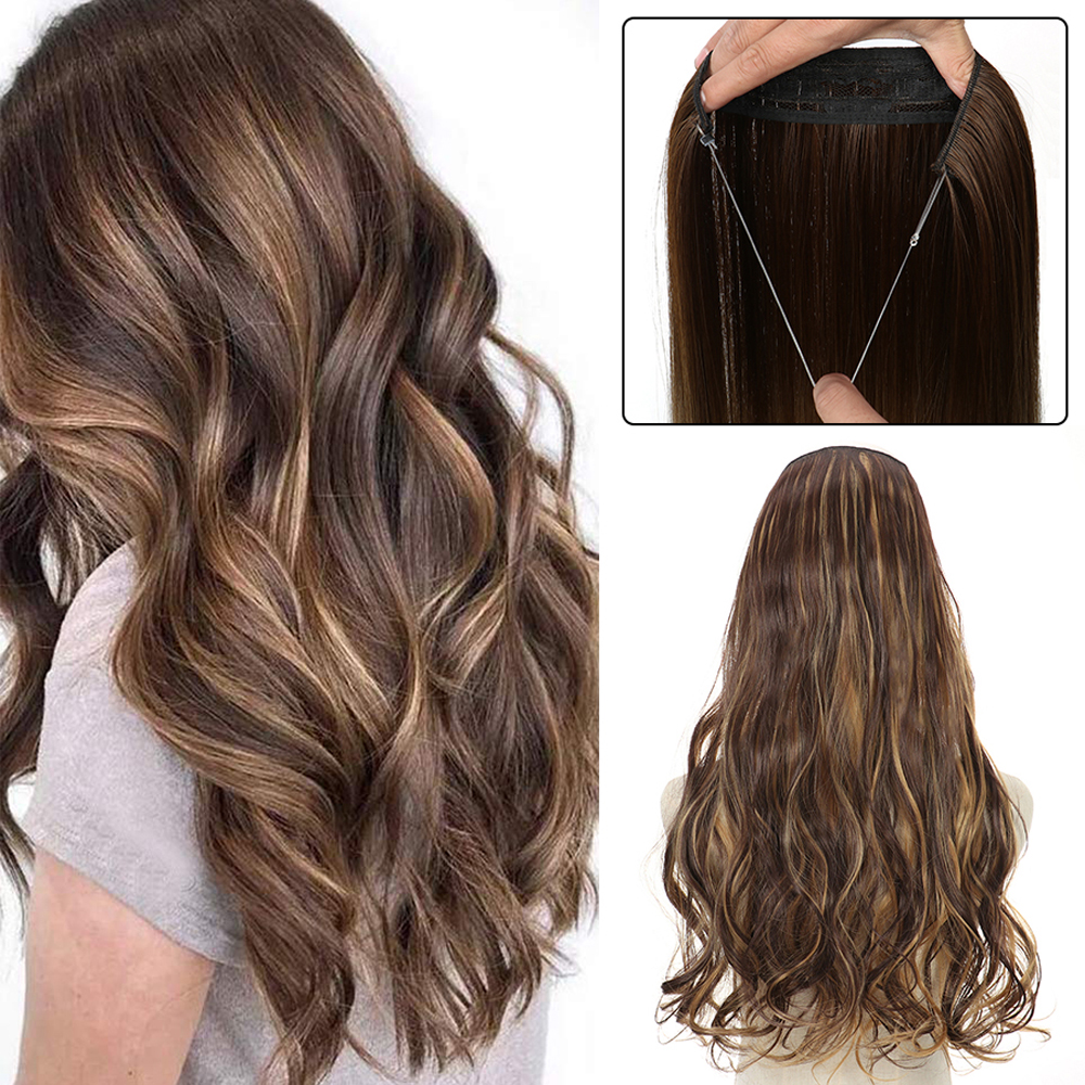 Halo Hair Extensions No Clip in Fish Line False Hairpiece Synthetic Hair Colored Natural Blond Brown Black Fringe Fake Hair
