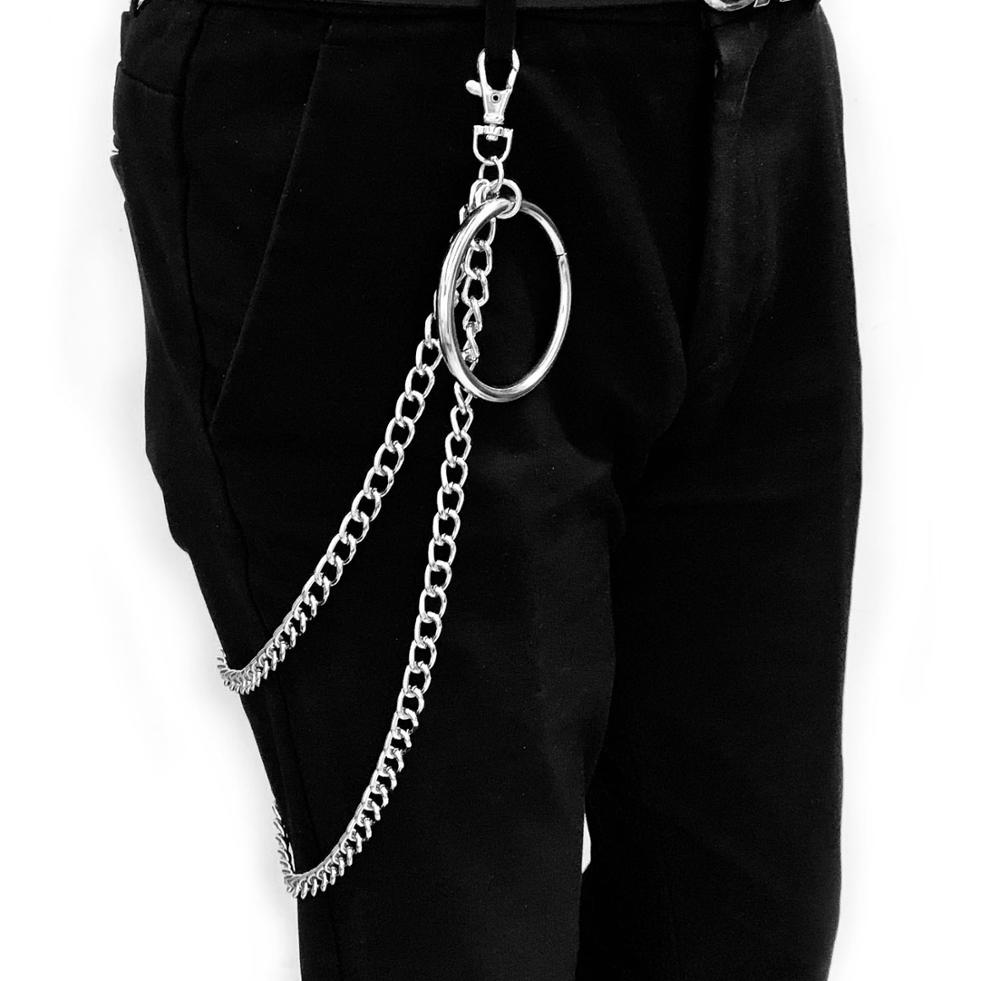1-3 Layer Rock Punk Hook Trouser Pants Waist Link Belt Metal Wallet Silver Chain Hip Hop Chain Belts For Women Pants Accessories