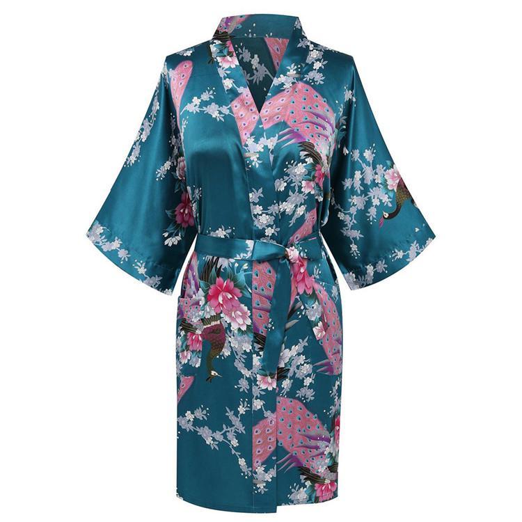 CEARPION Sexy Bathrobe Gown Print Flower Peacock Sleepwear Women Nightwear Satin Kimono Home Clothes Negligee Plus Size S-3XL