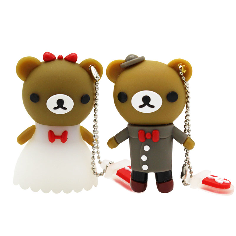 BiNFUL Wedding Gift Cartoon Bear Pendrive 4GB 8GB 16GB 32GB 64GB Bride Groom Pen Drive Usb Flash Drive