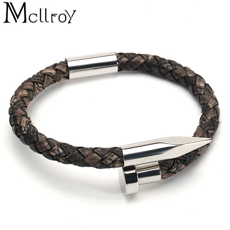 Mcllroy Bracelet hommes Vintage en cuir véritable acier inoxydable fermoir magnétique bracelets pour femme hommes bijoux 2018 erkek bileklik 6