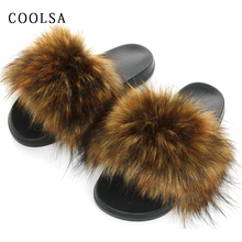 New Winter Faux Fur Slippers Women Slides Fluffy Fox Sandals Flat Female Home Woman Furry Flip Flop Plush Shoes