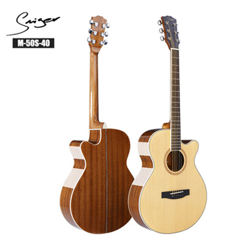 40/41inch High Quality Guitar 6 String Top Spruce Solid Wood Guitar High gloss Solid Top GuitarAGT148 фото