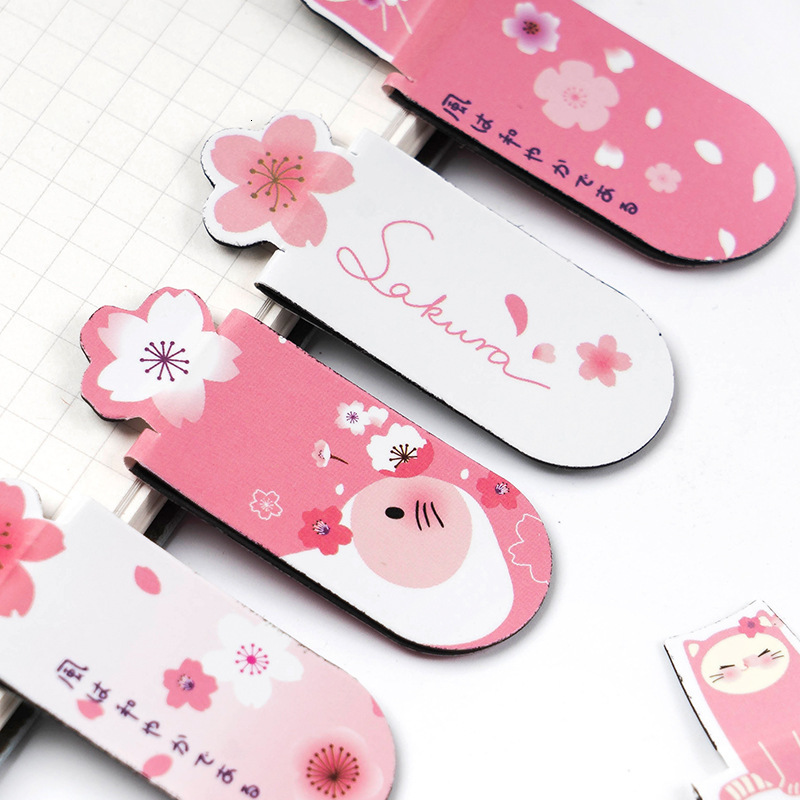 3 Pcs/ Set Lovely Pink Magnetic Bookmark Two-sided Colour Pattern Books Marker Of Page Student Stationery School Office Supply