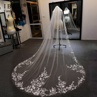 2020 Real Photo White/Ivory Wedding Veil 3m Long Comb Leaf Flower Lace Cathedral Bridal Veils Wedding Accessories Veu De Noiva