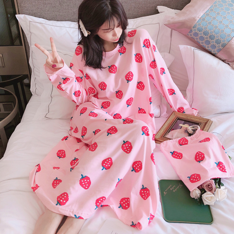 2019 Korean-style Cloth Bag Nightgown Women's Autumn Long Sleeve Long Loose Cloth Bag Nightgown Fast Hand-shaking Sound