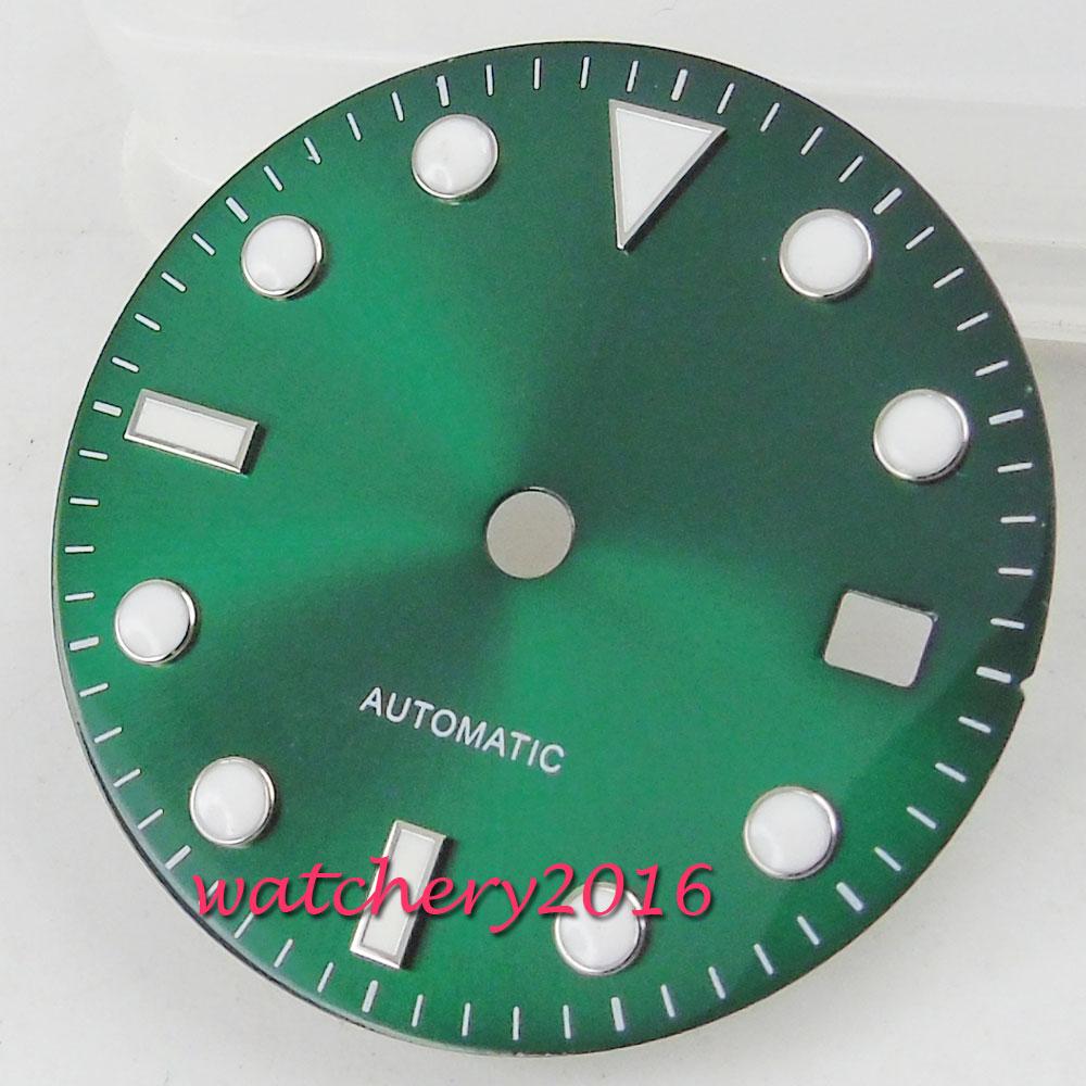 28.5mm Green Sunburst Dial Fit Date Winding Fit 2824 2836 Miyota 82 Movement