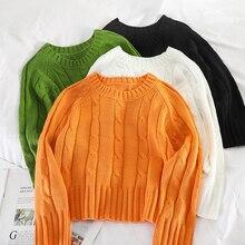 Mooirue  Sweater Women Autumn Long Sleeve Knitting Pullover Round Neck Solid Basic Koren Style Harajuku Green Black Tops