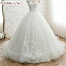 Ball-Gown Wedding-Dresses Scoop-Neck Angelsbridep Chapel-Train Tulle Appliques Lace-Up