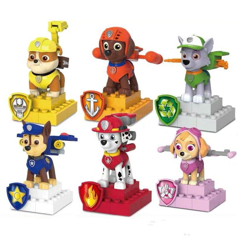 2020 Hot Original Paw Patrol Chase Marshall Skye Rubble Apollo Rocky Mini Building Blocks Children Toy Kids Birthday Gift Doll