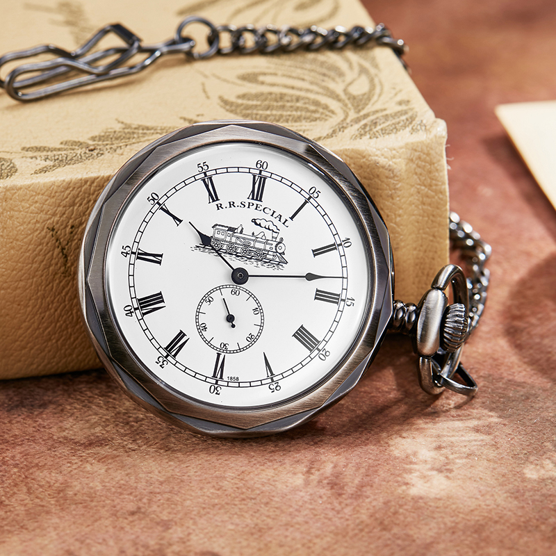 Antique Silver London Mechanical Pocket Watch Hand Wind Skeleton Men Women  Pocket & Fob Watches With Pendant Chain Necklace