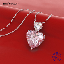 Shipei 925 Sterling Silver Heart Necklace Fine Jewelry 100% Citrine Pink Sapphire Heart Pendant Necklace for Women Birthday Gift 2017 buddha women men necklace 925 sterling silver buddhist heart sutra lucky bead chain pendant necklace gift fine jewelry fn40