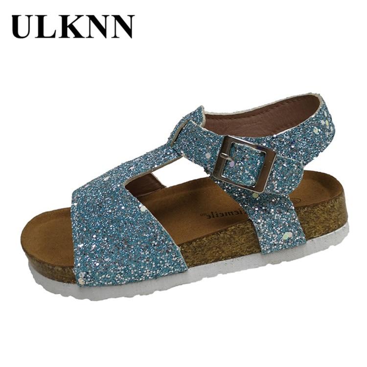 ULKNN Cork Children Princess Sandals