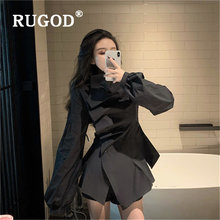 Rugod корейский шикарный женский свитер модный однотонный Асимметричный