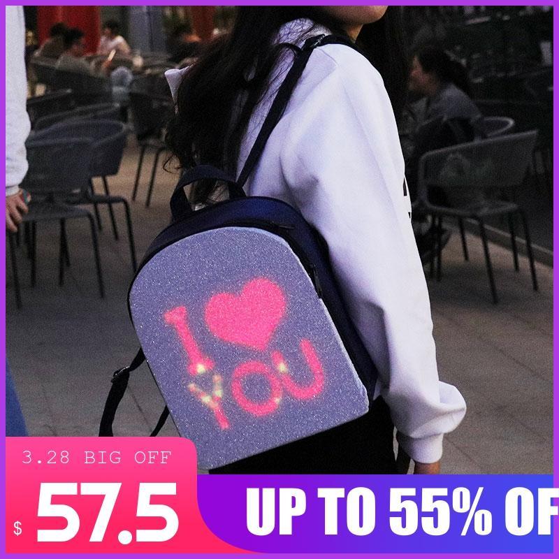 Edison LED Backpack Women's Backpack City Elf LED Display Screen Backpacks Smart WIFI Version APP Control Light Screen Women Bag