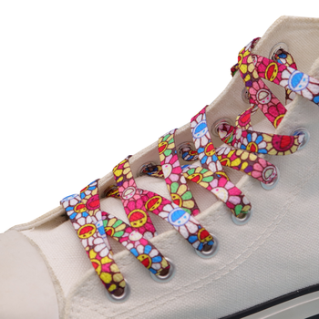 Weiou Women Child Sport Canvas Sneaker Shoelace 8mm Flat Printed Colorful Sunflowers Pattern Polyester Shoestrings Drop Shipping