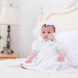 Image 2 - HAPPYPLUS Snow White/Ivory Baby Girl Christening Dress Gown Set Embroidery Baptismal Outfits Formal Baby Dresses Birthday 1 Year