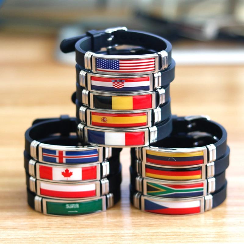 FIMAODZ USA Spain Flag Bracelet for Men Women Israel Germany Flags Adjustable Silicone Wristband Bangle 2020 Souvenir Gift
