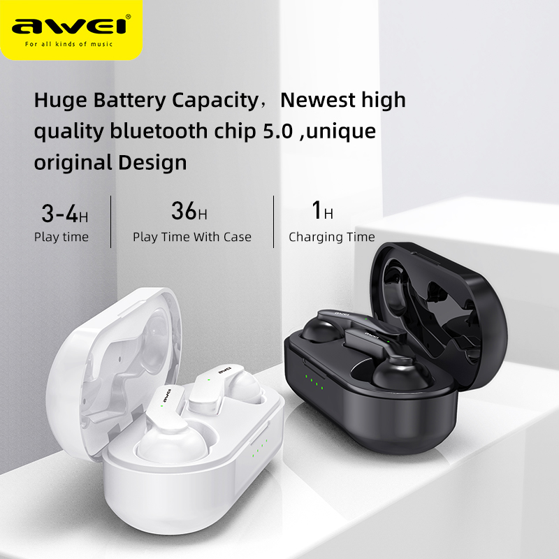 lowest price AWEI TWS Bluetooth V5 0 Earphone True Wireless Charging Noise Canceling HiFi 6D Bass With Mic Touch Control Gaming Headset