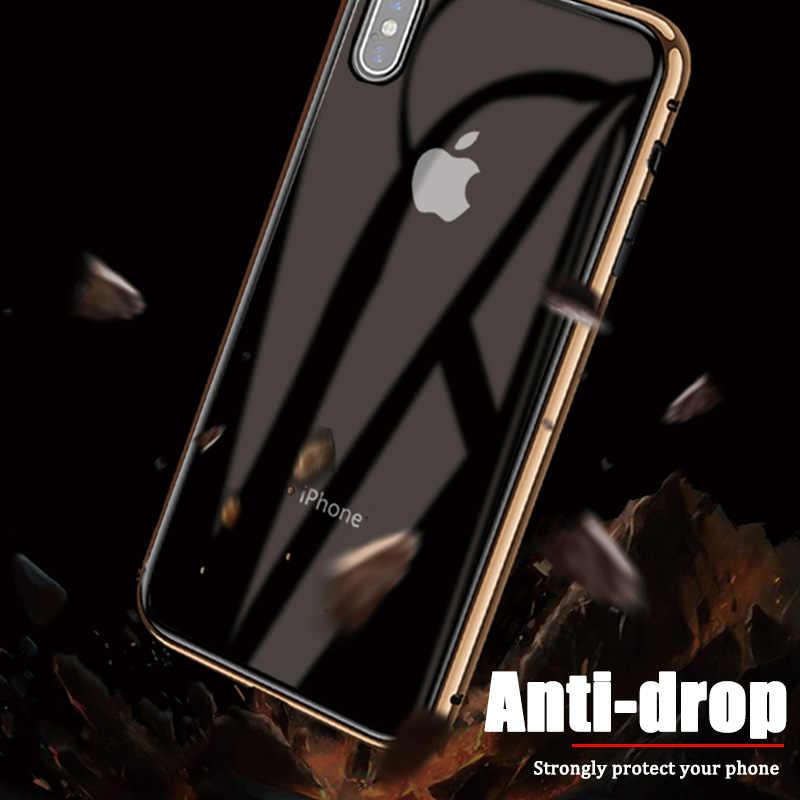 磁気プライバシー強化ガラス金属電話ケース iphone 11 プロ 7 8 6 6s プラス XS MAX X XR フルボディ Antispy 保護カバー