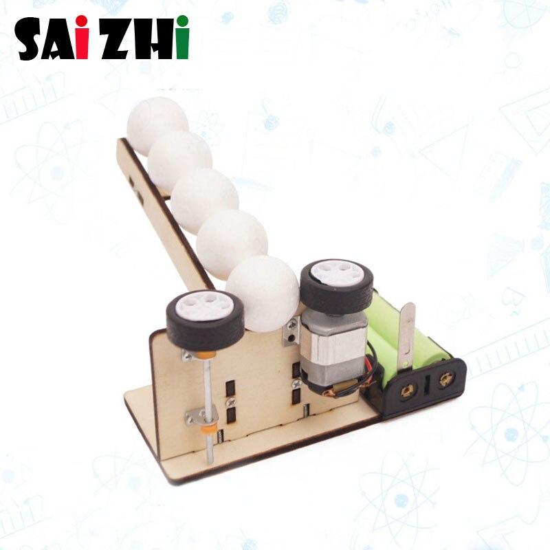 Saizhi Science Toy Diy Machine Automatic Ball Machine Developing Intelligent Toy STEM Electric Model Toy Birthday Gift SZ3337