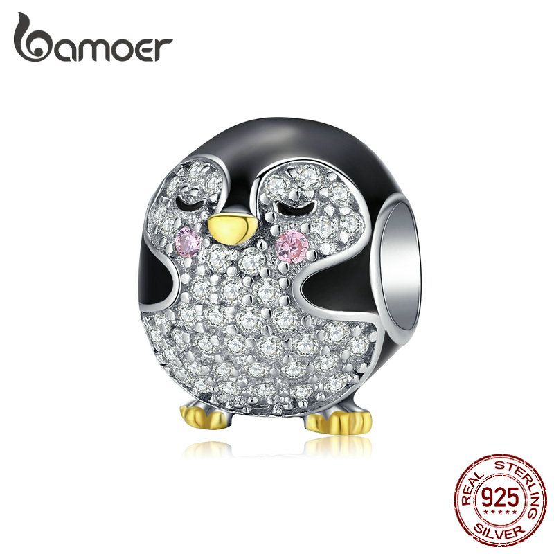 bamoer Authentic 925 Sterling Silver Penguin Baby Round Metal Beads for Women Original Bracelet Enamel Charm for Bangle BSC126(China)