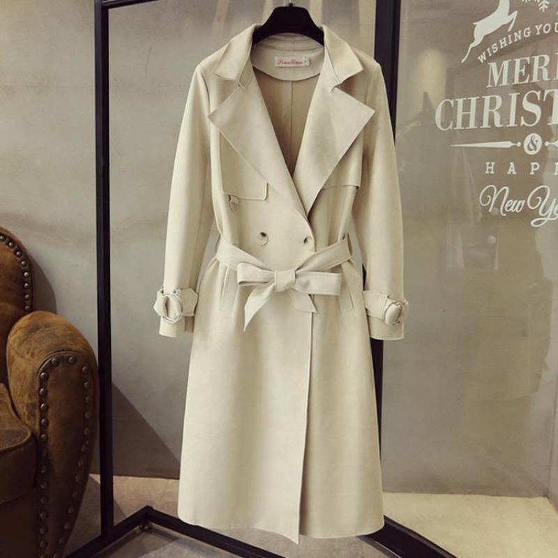 Turn Down Collar Sash Suede Long Trench Coat 3
