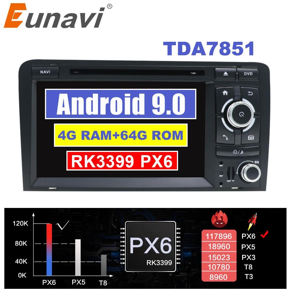 Eunavi IPS Android 9 samochodowy odtwarzacz dvd dla Audi A3 S3 2003-2011GPS radio nawigacyjne stereo multimedia 4G 64G 1024*600 ekran dotykowy