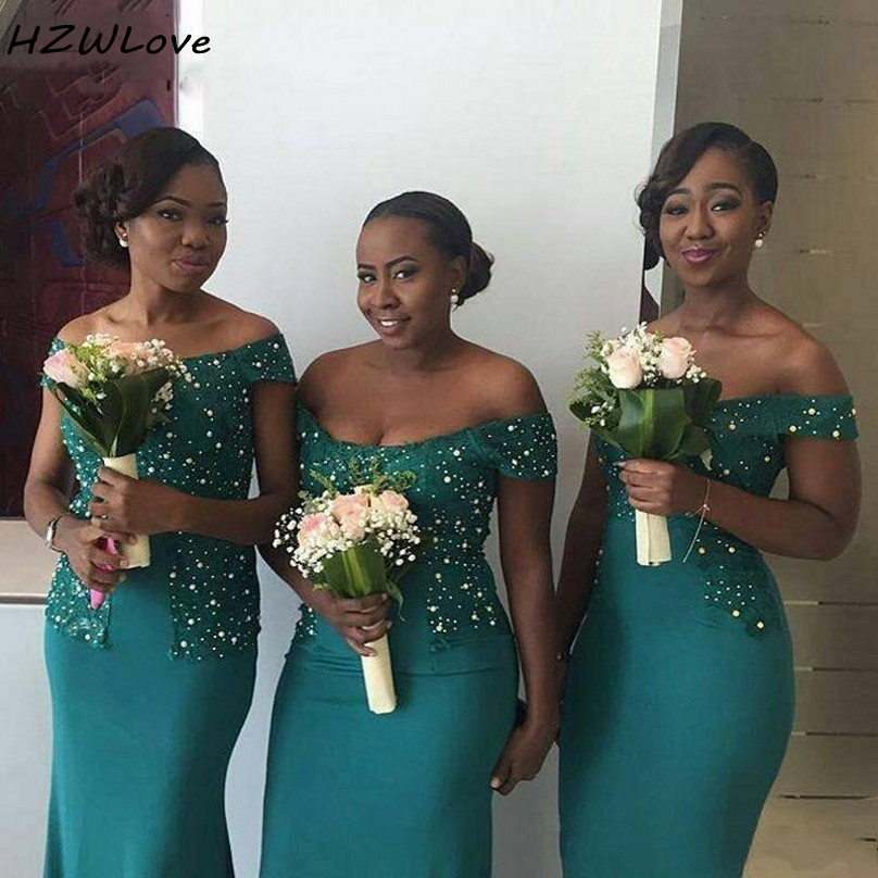 Pearls Mermaid Bridesmaid Dresses Lace Appliques Off The Shoulder Beads Plus Size Wedding Guest Dress African Dubai Party Gowns