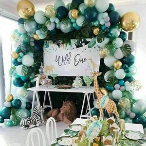 167pcs Green Balloon Garland Latex Balloon Arch Safari Jungle Party Wild One Birthday Party Decoration Kids Baby Shower