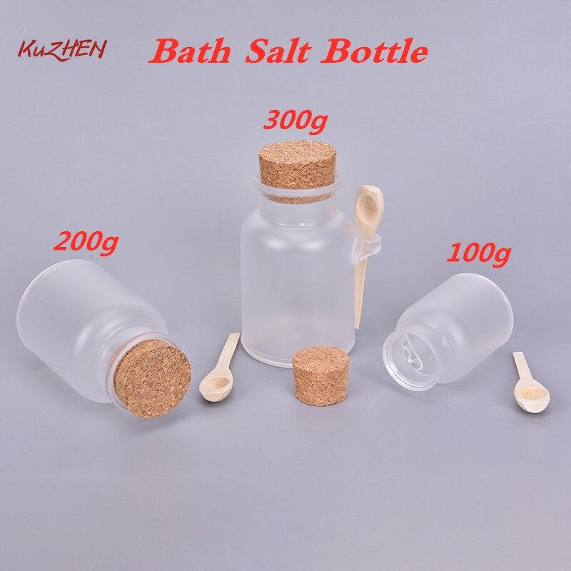 1 Pcs 100g/200g/300g Empty Bath Salt Bottle Plastic Matte Cork Jar Women Mask Facial Container Refillable Bottle With Wood Spoon