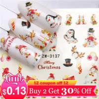 YWK 1 Sheet Nail Stickers Water Transfer Sticker Snowman / New Year gift Nail Art Slider Manicure Decoration