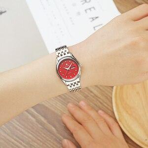 Image 4 - WWOOR reloj rojo de marca de moda para mujer, reloj de pulsera informal para mujer, reloj de acero inoxidable con fecha de cuarzo, reloj para mujer