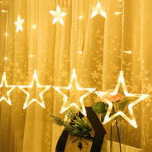 LED Stars Christmas Hanging Curtain Lights String Net Xmas Home Party Home Decoration Window Party Decor 2.26(China)