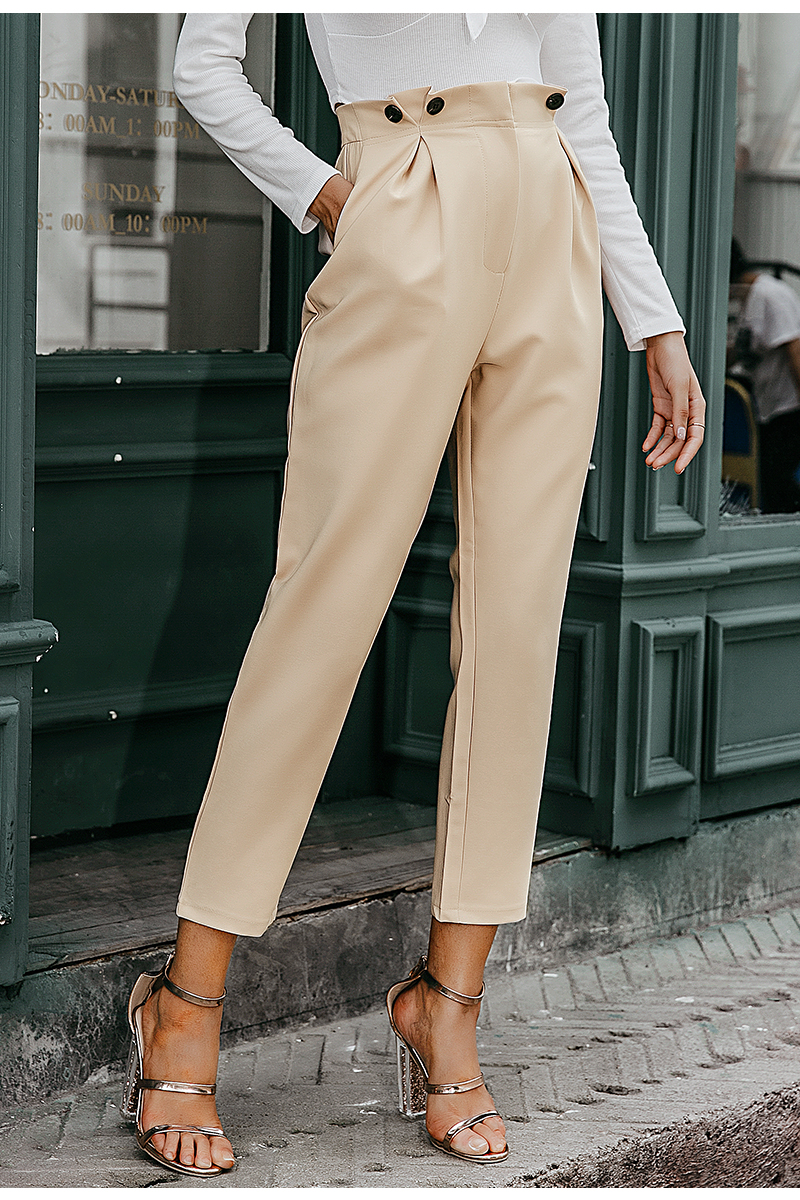 Simplee Solid casual harem pants female trousers High waist office ladies blazer suit pants Loose Ankle-length women pants 19 4