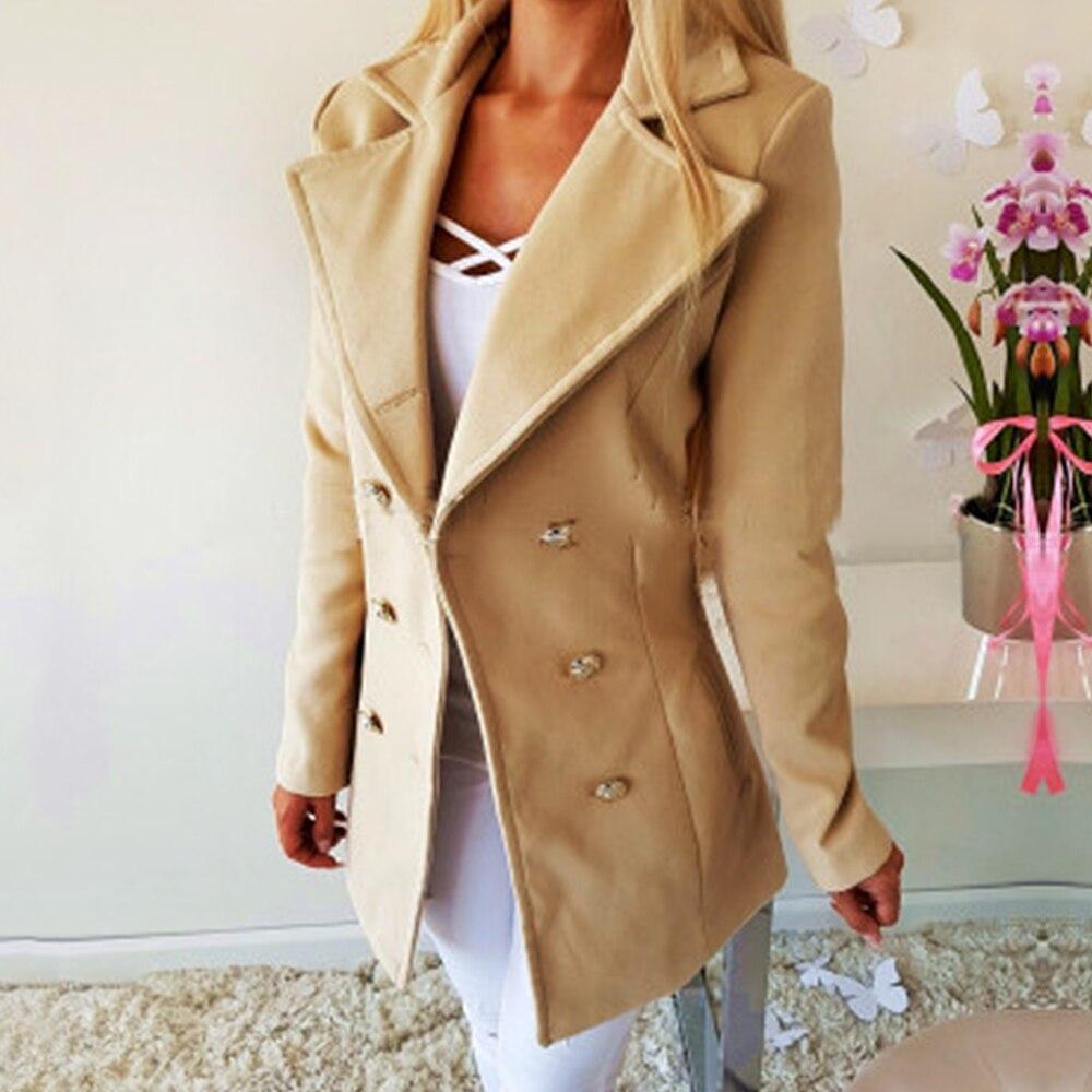 Women Casual Wool Suit Jacket Autumn Office Lady Coat Slim Solid Chaqueta Mujer Outerwear Fleece Veste Femme Luxury Long Coat