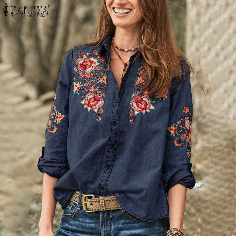 2019 Autumn Floral Embroidered Denim Blue ZANZEA Casual Long Sleeve Blouse Women Fashion Button Down Shirts Tunic Tops Female