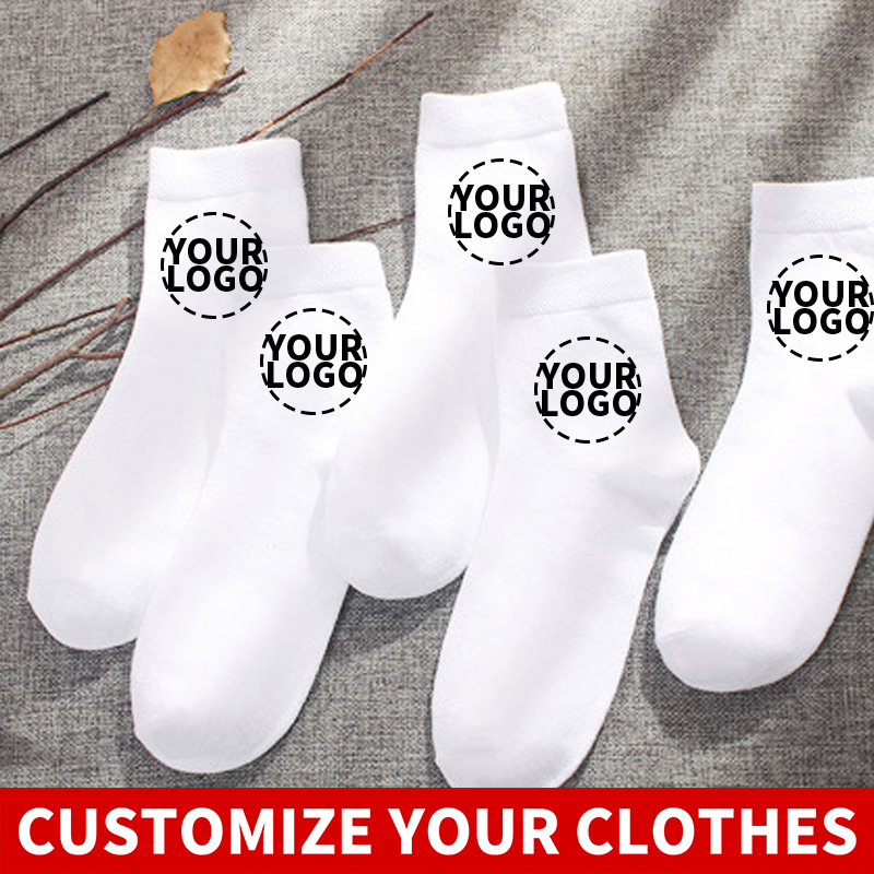2020 2pair Your OWN Design Brand Logo/Picture White Custom Men And Women Sock Plus Size Socks