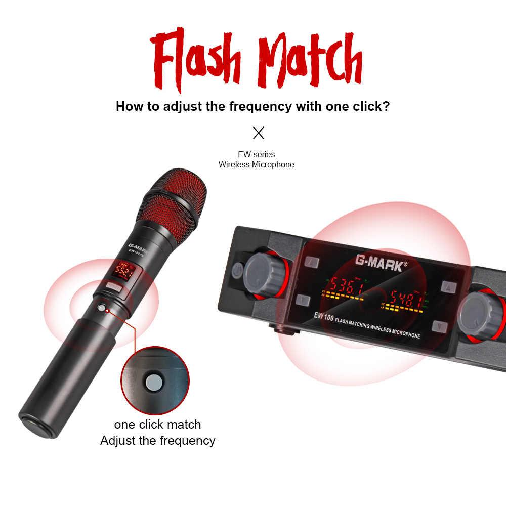 G-MARK EW100 אלחוטי מיקרופון UHF קריוקי מיקרופון כף יד מיקרופון מקצועי תדר מתכוונן 80M לקבל מסיבת שירה