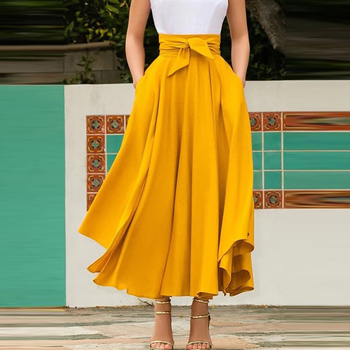Summer Autumn Elegant Pleated Long Skirt Women Casual Plus Size High Waist Bandage Slim Solid Color Party Maxi Skirt casual style high waist solid color cotton blend skirt for women