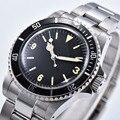 1960 Retro Horloge heren Automatische Mechanische 39.5mm zwart Steriele Wijzerplaat zwarte Aluminium Plaat Bezel Lichtgevende 02
