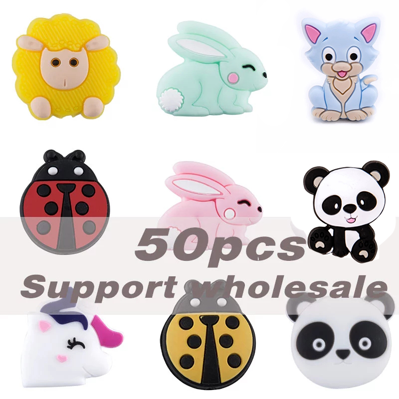50 Pc BPA Free Silicone Beads Panda Rabbit Rodent Baby Teether DIY Pacifier Chain Necklaces Pendant Accessories Bite Chew Toys