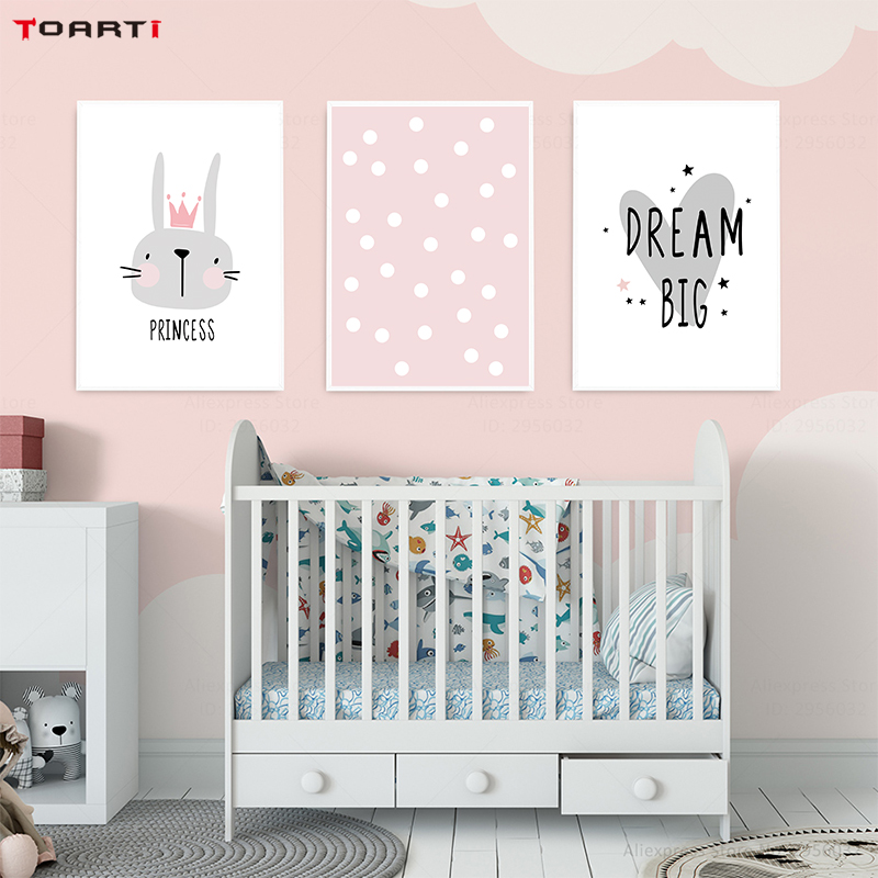 Pink Cartoon Nursery Girl Wall Picture Poster Print Rabbit Crown Baby Room Modern Canvas Painting Kids Children Wall Art Mural (3)