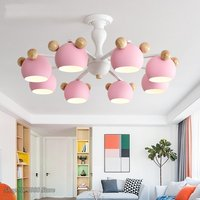 Nordic Kids Room Chandelier Multicolor Macaron Wood LED Hanging Lamp Modern for Bedroom Chandelier Children Rooms Decor Fixtures