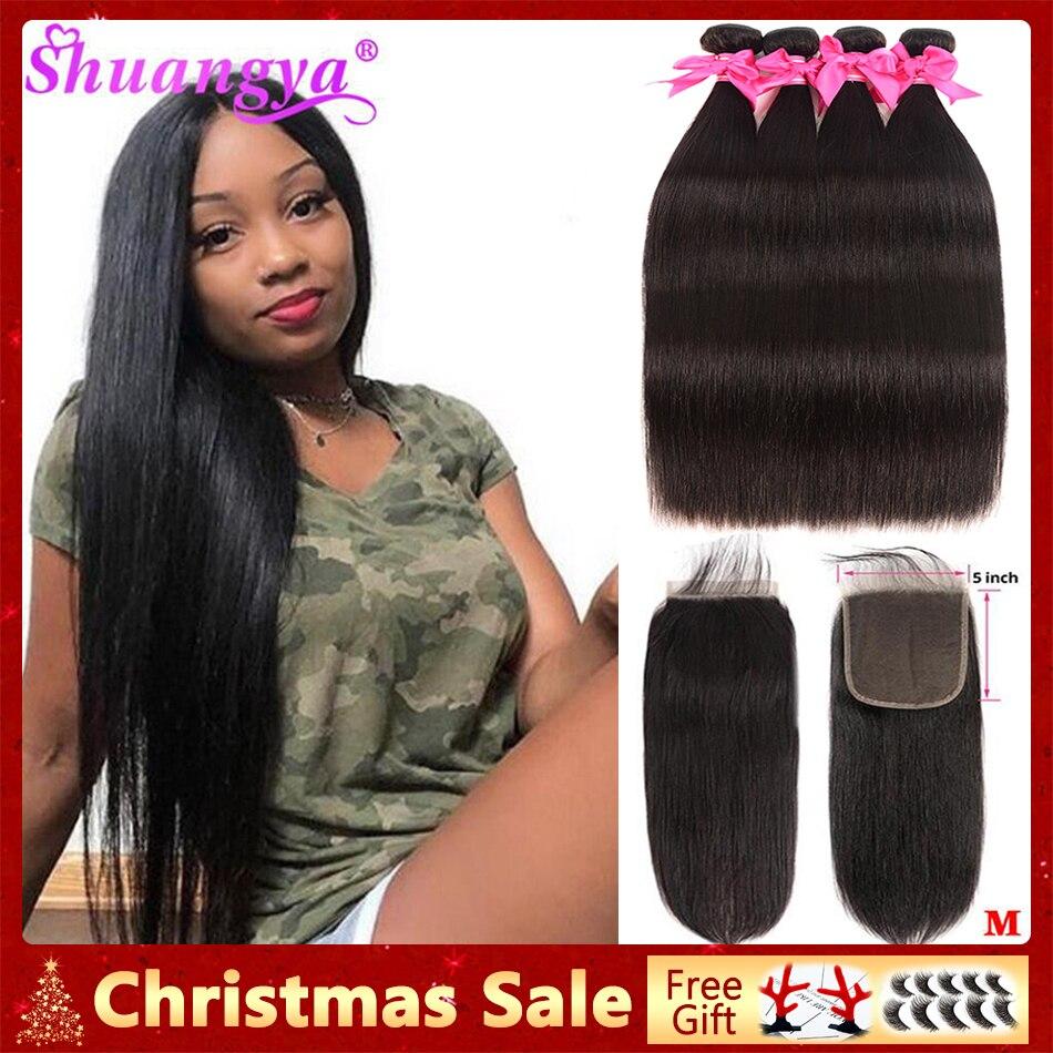 Straight Hair Bundles With Closure 4x4/5x5 Closure With Bundles Remy Human Hair 3 Bundles With Closure Indian Hair Extension