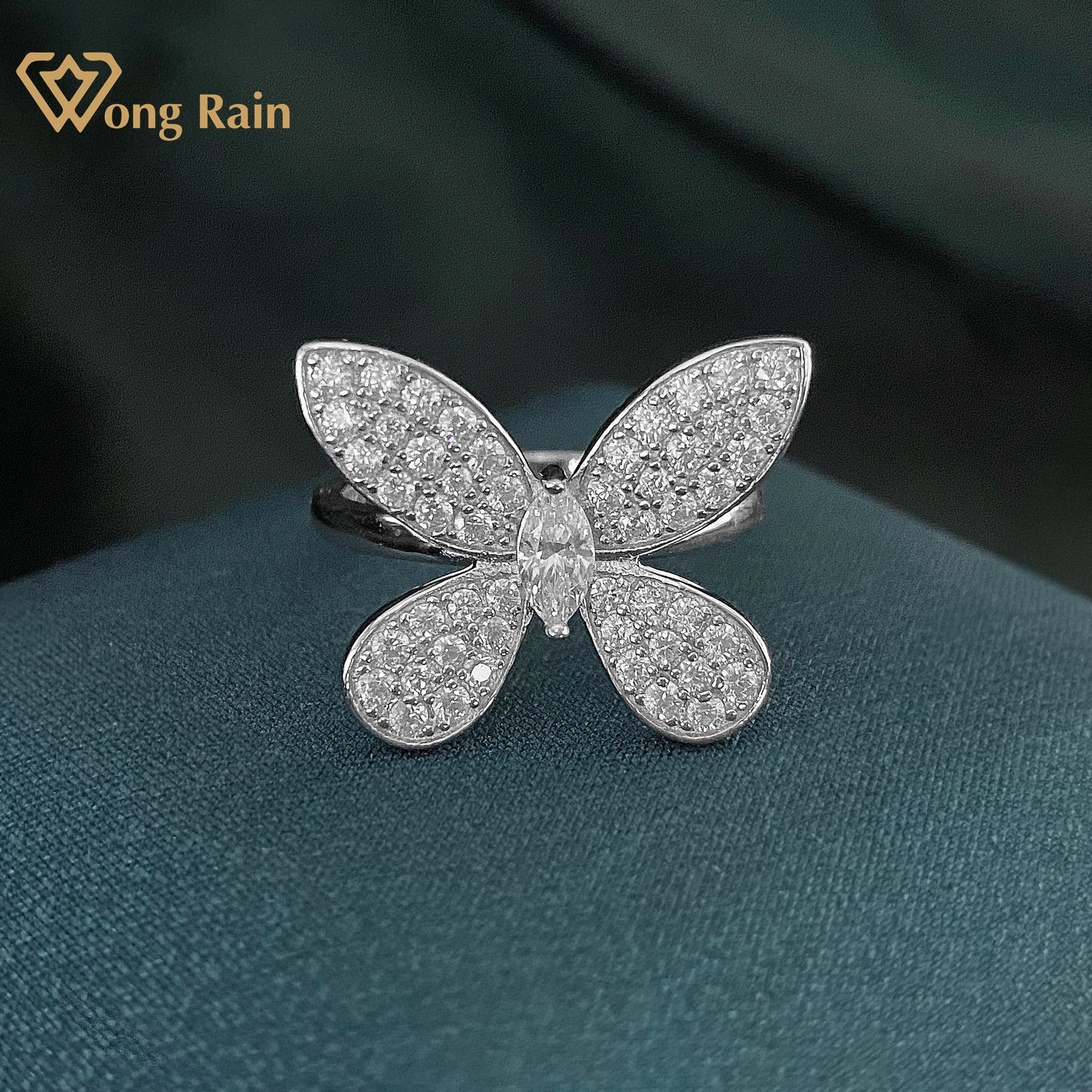 Wong Rain Luxury 100% 925 Sterling Silver Created Moissanite Gemstone Engagement Wedding Butterfly Ring Fine Jewelry Wholesale