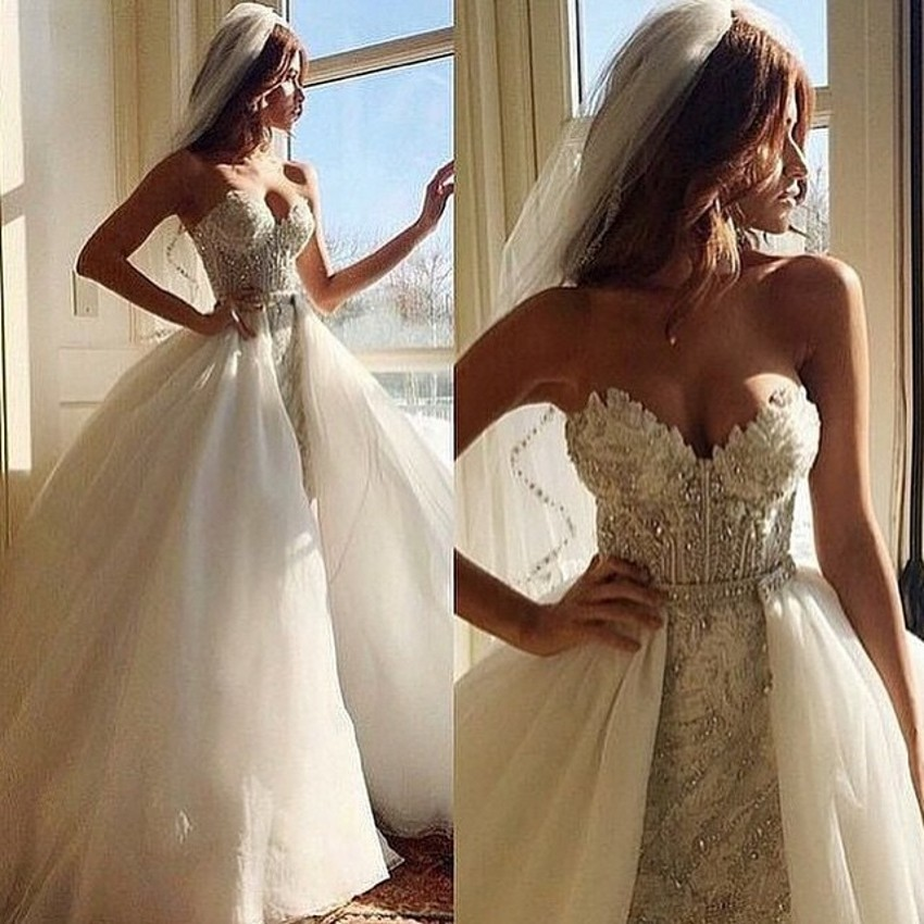 Luxury Detachable Skirt Lace Bridal Gown With Beading 2018 Lace Appliques Sheath Robe De Mariage Mother Of The Bride Dresses